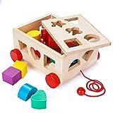 MojiDecor Kinder Holz Sortier-Box Auto mit 15 Formen Steckwürfel, Steckbox Steckspiel Steckwürfel Formensortierspiel Montessori Holzspielzeug, Lernspielzeug zur Förderung von Formerkennung