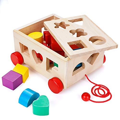 Holzspielzeug Eichhorn Holz Steckwürfel Steckspiel Steckbox Spielzeug 13 Teile Motorik/NEU/