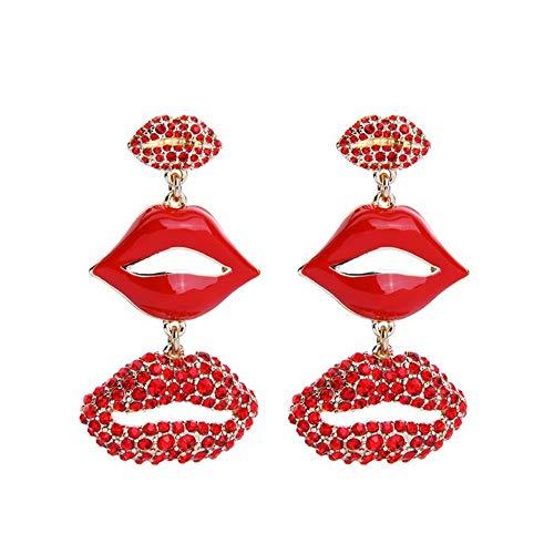 ZHWM Ohrringe Ohrstecker Ohrhänger Rote Strass Emaille Lippen Tropfen Ohrringe Personalisierte Frauen Maxi Anweisung Ohrringe Weihnachtsschmuck