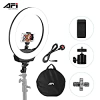 ‏‪Andoer AFI 16 Inch LED Ring Light for Phone and Camera 38W Stepless Dimmable 3200K-6500K Lighting kit with Phone Holder Carrying Bag for YouTube Video Shooting Live Streaming Makeup Portrait Selfie‬‏