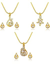 Atasi International Gold Plated Jewellery Set For Women (Golden)(C293)
