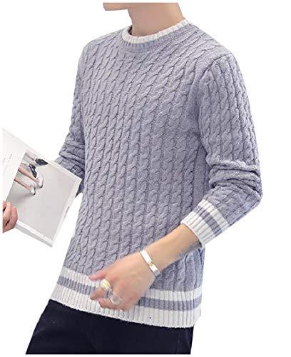 3/4 Sleeve Wool Pullover (CuteRose Men Striped Crew Neck Solid Long-Sleeve Soft Pullover Knitwear Grey 2XL)