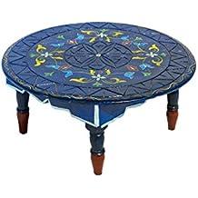 Marokkanischer Tisch Beistelltisch Aus Holz Bidhan Rot ø 45cm Rund