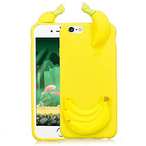 Cover iPhone 6s plus Custodia iphone 6 plus Silicone 3D Cartoon Leton Morbido TPU Gel Case per Apple iPhone 6s plus / 6 plus (5.5 pollici) Ultra Sottile Flessibile Satinato Gomma Caso Anti Graffio Ant Banana Gialla