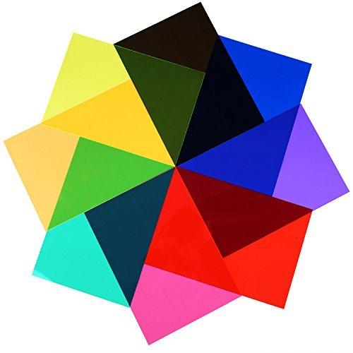 9 Stück Gelfilter Transparente Farbfolie Kunststoff Folien Korrektur Gel Licht Filter 29,5 x 21 cm 9 Farben