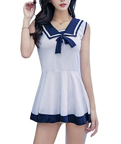 HIZH Weibliches Kostüm, reizvolles Mädchen-Seemann-Kleid Unterwäsche Set, weiß, - Seemann Mädchen Kostüm