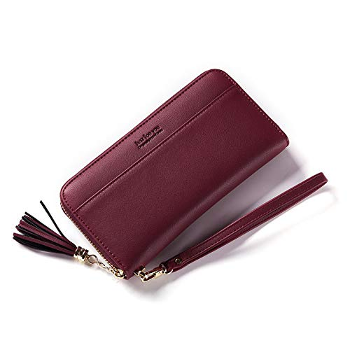 Damen Geldbörse RFID Blocking Large Capacity Leder Clutch Multi Card Case Damen Geldbörse Rot