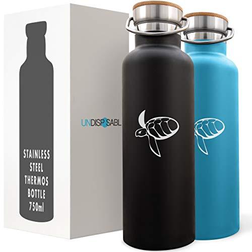 Caretta - Bottiglia termica acciaio inox 350-750ml, finanzia RIMOZIONE PLASTICA da oceani - Borraccia Isolamento doppia parete, acqua caffè tè birra caldo o freddo per 10 ore, con Borsa di Tela