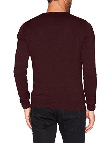 TOM TAILOR Herren Pullover Basic V-Neck Sweater Rot (Dark Berry Red Melange 4778)