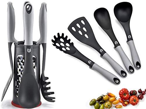 Cliving Premium Silikon Küchenhelfer Set mit Ständer - Hochwertige Hitzebeständige Küchenutensilien für Antihaft Topf - Sauberes Kochen mit der ganzen Familie