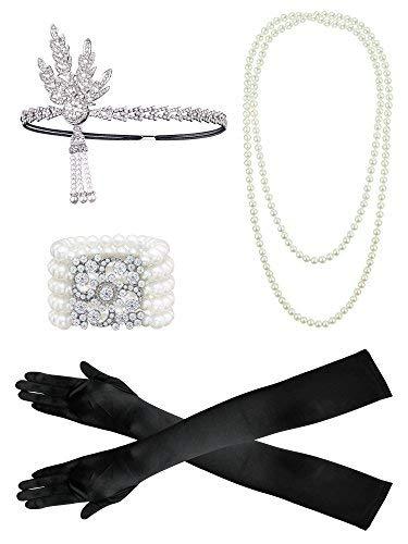 1920er Jahre Zubehör Set Flapper Kostüm, Frauen Feder Stirnband, Satin Handschuhe, Perlenkette, schwarze ()