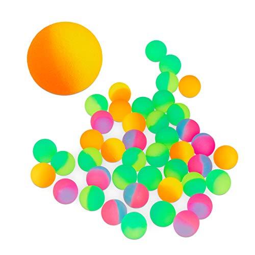 Relaxdays 10024994 Flummi 50er Set, Gummiball, Mitbringsel für Kinder, Hüpfball, Springball, ca. 2,7 cm groß, Frost, neonfarben