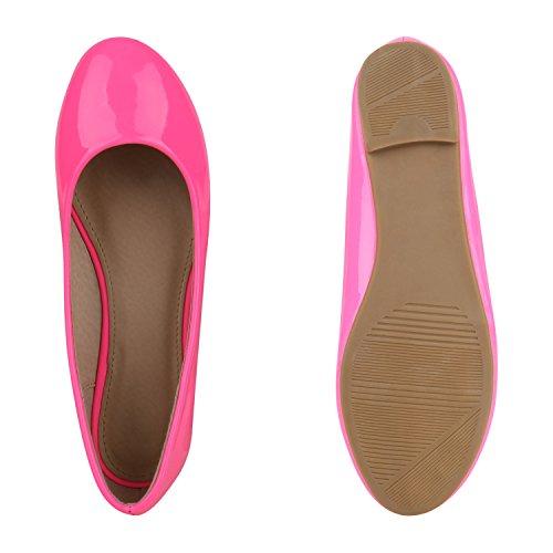 Damen Ballerinas Lack Slipper Schuhe Flats Lederoptik Neonpink