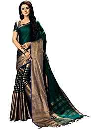 Signature Fashion Women's Cotton Silk Saree With Blouse Piece (Lovely-9, Green, Free Size)
