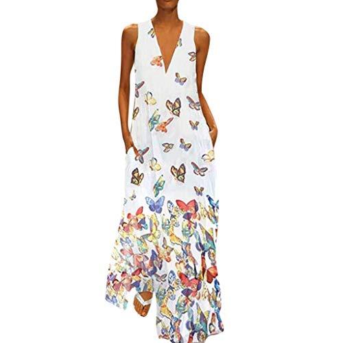 QIMANZI DamenBeiläufig Ärmellos V-Ausschnitt Blumendruck Maxi Tank Langes Kleid(Weiß,S) - Leinen Rock Mutterschaft