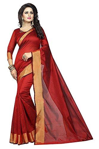 Harikrishnavilla Women'S Cotton Silk saree With Blouse Piece(Monika Red)