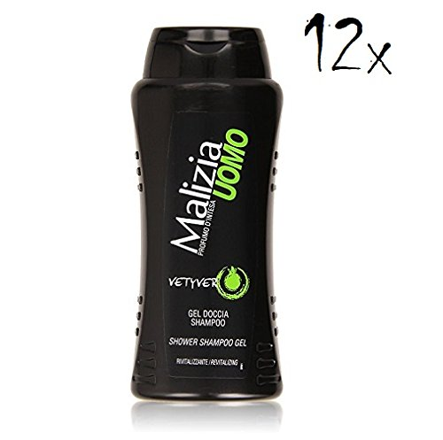 12x MALIZIA UOMO Vetyver - Duschgel & Shampoo 2in1 250ml Duschcreme Shampoo
