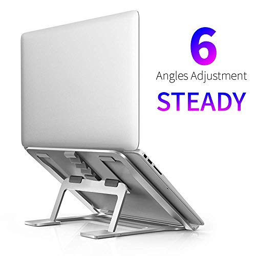 Soluser Laptop Ständer, Multi-Winkel verstellbar Laptop Halter mit Hitze Belüften, Höhe Einstellbar Notebook Ständer Kompatibel für 10 bis 17 Zoll Tablet/MacBook Pro/Air/Surface Laptop, Silber -