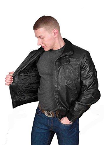 Herren Gepaßte Bomber Lederjacke Designer weiche hochwertige Mantel George Schwarz - 5