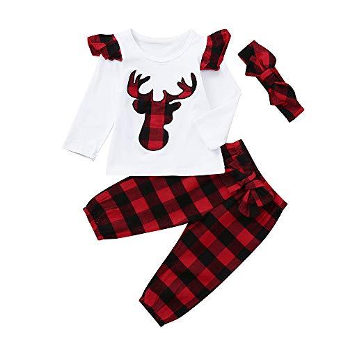 MIRRAY Weihnachten 3 Stücke Kleinkind Infant Baby Jungen Mädchen Weihnachten Deer Plaid Tops Hosen Outfits Set