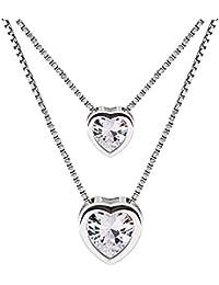 B.Catcher Collar Mujer Plata de Ley 925 Doble corazón con Para Regalo San Valentín Originales