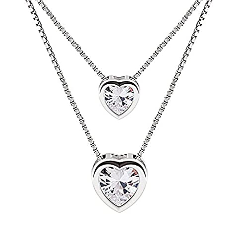 B.Catcher Kette Damen Halskette Herz Anhänger Doppelkette 925 Sterling Silber 5A Zirkonia Schmuck Geschenk Box