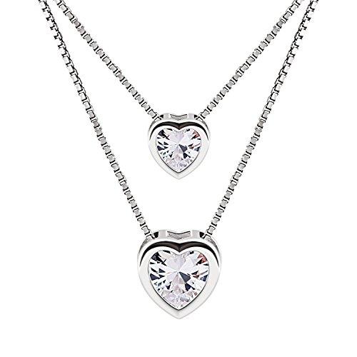 B.catcher 925 argento sterling zircone cubico doppio strato cuore brillante catenina collana