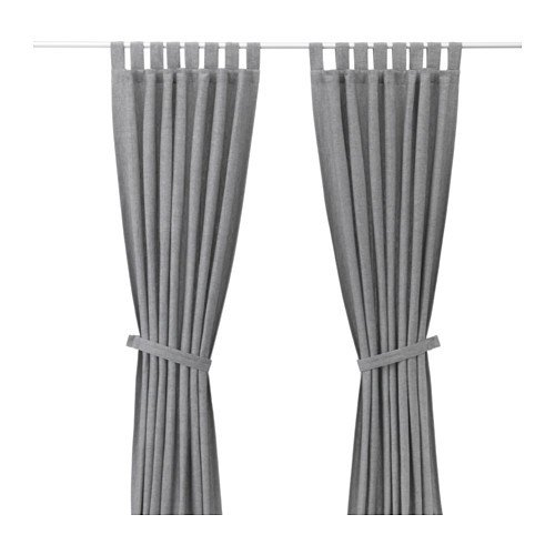 Ikea Lenda–Juego de 2cortinas con alzapaños en gris; (140x 300cm)
