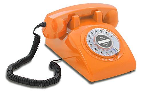 Opis 60s Cable mit schwarzem Deutsche Post Pappeinleger: Retro Telefon im sechziger Jahre Vintage Design mit Wählscheibe und Metallklingel (orange)