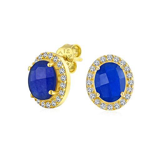 Blue Sapphire Oval Ohrstecker Frauen 14K Vergoldet Sterling Silber September Birthstone Erstellt ()