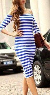 Femmes Robes Mi Longues DÉté Dos Nu Moulante Bustier Rayures Robes Chic De Soirée Vintage Robes Imprimées Bleu