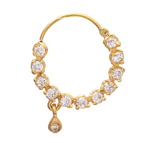 Geode Delight American Diamond studded Gold Plated Pierced Nosering for Women & Girls