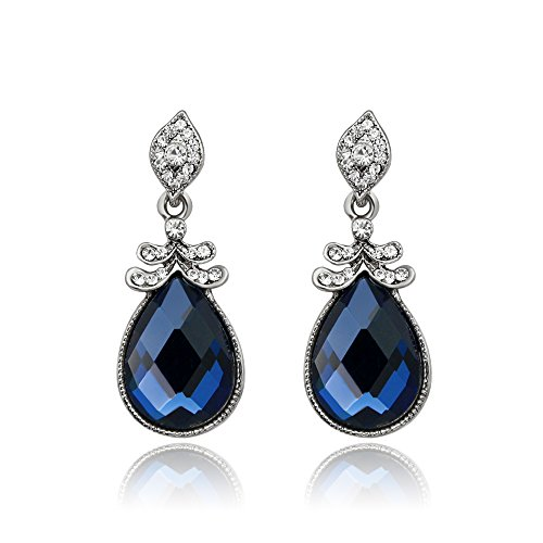 Skyllc® Argento placcato strass di cristallo Ovale Blu Gemstone Orecchini
