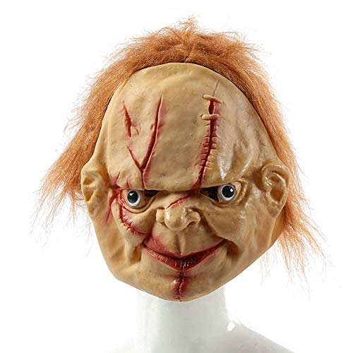 QWW Clownmaske Cosplay Parade Clown Maske Horror Kostüme Halloween mit weißer Stirnglatze braun Haar,Ghost/King