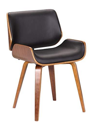 folk Wohnzimmerstuhl Esszimmerstuhl Bürostuhl Designer Kunstleder aus Massivholz Nussbaum Eiffel -Finish (schwarzes PU-Leder rchteckige Rückenlehne/Sitzfläche) -