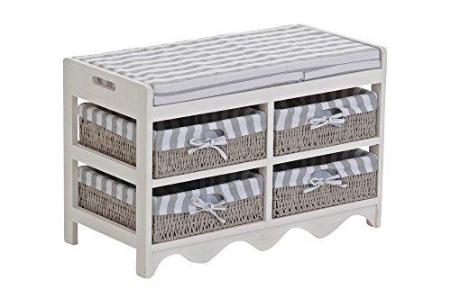 Panca cassettiera CP022 con 4 ceste multiuso MDF 34x70x45cm ~ (Panca Appendiabiti)