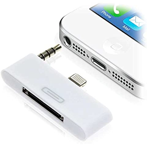 Adaptador Dock 30 pin a 8 pin para Apple iPhone 5 5S S 5C C Salida Audio Blanco