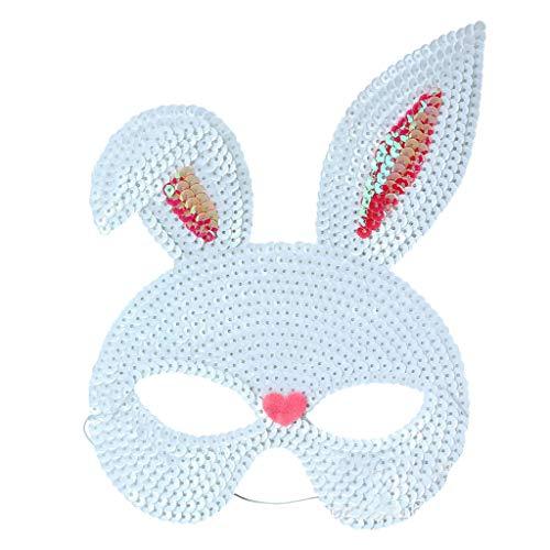 Viesky Maskenbärenmaske, Pailletten, Hasenmasken, süßes Häschenmotiv, Halloween, Maskenball, Party, Cosplay, Kostüm-Requisiten, Plastik, weiß, M