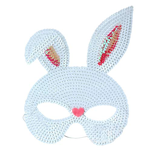 Kostüm Cute Bunny - chenpaif Maskerade Party Maske Pailletten Kaninchen Masken Cute Bunny Halloween Maskerade Party Cosplay Kostüm Requisiten Weiß