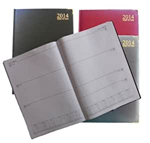 2014 A4 WEEK TO VIEW DIARY Hardback Padded Gilt Edge Metal Corners Desk Work - Black, Red or Blue