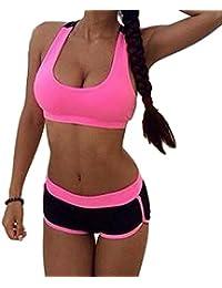 juqilu Chándal para Mujer Sport Bra + Shorts Push Up Set de Deportes Traje de Gimnasio Color de Contraste 2 Piezas Fitness Traje 3 Colores S-XL