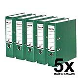 Falken PP-Color Kunststoff-Ordner 8 cm breit DIN A4 grün 5er Pack Ringordner Aktenordner Briefordner Büroordner Plastikordner Schlitzordner