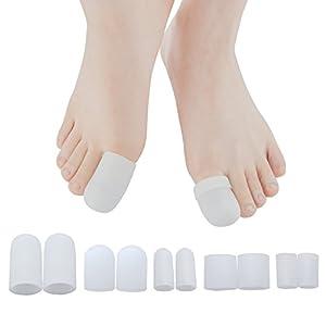10 Stücke 100% Gel Zehenkappen mit komfortablen und weichen Schutzmaterialien, Schutz vor Blasenbildung, geeignet für den großen und kleinen Zeh (Verschiedene Größe Zehe Sets)