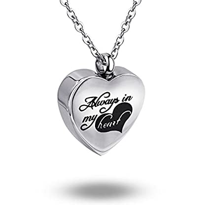 ZCBRISK Always in My Heart Flower Cremation Ashes Locket Necklace Urns Pendant Memorial Keepsake Jewelry 4