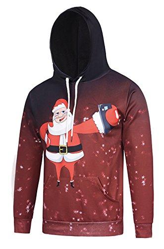Pizoff Unisex Hip Hop Sweatshirts druck Kapuzenpullover mit weihnachten christmas baum hirsch Digital (Engel Kostüm Teuflische)