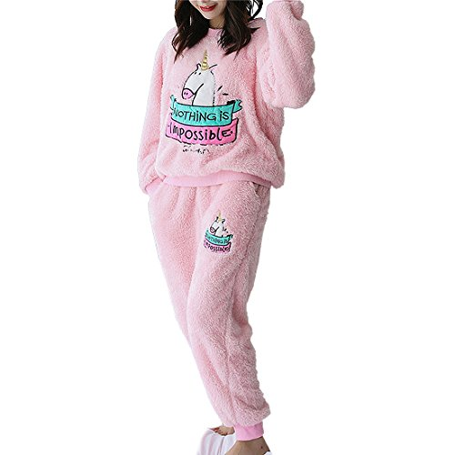 Flanell Damen Hose (GWELL Damen Schlafanzug Set Einhorn Motiv Flanell Pyjama Zweiteiliger Langarm Nachtwäsche Winter rosa XL)