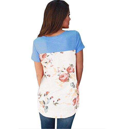 PU&PU Frauen Casual / Daily Contrast T-Shirt Zurück Print Rundhals Kurzarm Top Blue