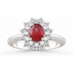 Anillo ANITA con rubí en oro 18kt, paladio y diamantes para mujer