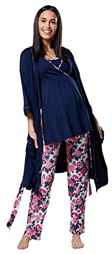 HAPPY MAMA Damen Mutterschaft Pyjama-Set/Hose/Top/Morgenmantel 558p (Marine und Ecru mit Blumen, EU 42, XL) Pyjama Set