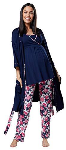 HAPPY MAMA Mujer Maternidad Conjunto Pijama/Pantalones/Cima/Bata 558p Azul Marino y Crudo con Flores...